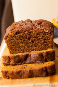 Pumpkin Quick Bread made with whole-grain flour and coconut oil. Vegan.