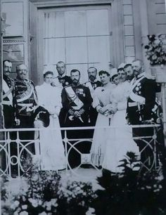 What strikes me most when I look at this photograph is how innocent and uncomfortable Nicholas and Alexandra (Alix especially) appear amongst their older, dominating relatives. It is easy to empathize with Nicky and Alix and understand why they would retreat to their own private, familial world at Tsarskoe Selo.