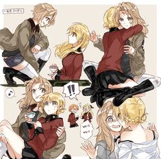 Darjeeling x Kay (Girls und Panzer) Anime Girlxgirl, Kawaii Anime, Fan Art Anime, Anime Artwork, Yuri Manga, Yuri Anime, Cute Lesbian Couples, Lesbian Art, Manga Girl