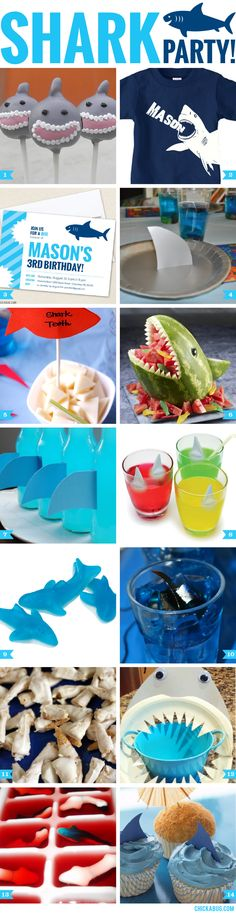 14 Fin-tastic Shark Party Ideas! These great for a shark theme birthday party or a Shark Week viewing party.