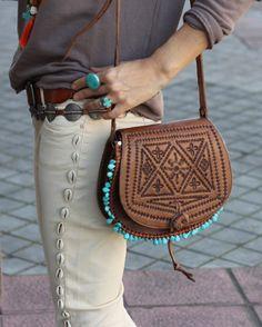 Etched leather & turquoise. Via Mytenida