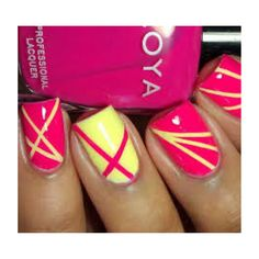 Yellow & pink nails
