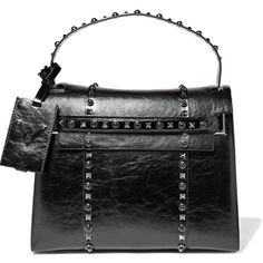 Valentino My Rockstud glossed textured-leather tote ($3,800) ❤ liked on Polyvore featuring bags, handbags, tote bags, valentino, black, tablet purse, top handle purse, handbag purse, tablet tote and valentino tote