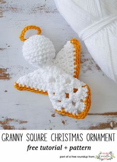 The Ultimate Crochet Christmas Ornaments Roundup Crochet this easy granny squar. The Ultimate Crochet Christmas Ornaments Roundup Crochet this easy granny square angel amigurumi c Crochet Christmas Decorations, Christmas Applique, Crochet Christmas Ornaments, Crochet Decoration, Noel Christmas, Crochet Ornament Patterns, Crochet Angel Pattern, Christmas Crochet Patterns, Holiday Crochet