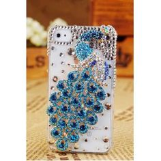 Apple Iphone 4s 4g Verizon At Bling Blue Crystals Peacock Girly Luxury Back Case Cover