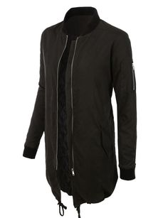 LE3NO Womens Water Resistant Long Padded Zip Up Bomber Jacket