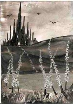 black and white castle one of my encaustic art paintings