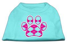 Argyle Paw Pink Screen Print Shirt Aqua Med (12)