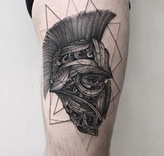 What does spartan tattoo mean? We have spartan tattoo ideas, designs, symbolism and we explain the meaning behind the tattoo. Black And Grey Tattoos For Men, Black Tattoos, Incredible Tattoos, Beautiful Tattoos, Guerrero Tattoo, Spartan Tattoo, Helmet Tattoo, Single Needle Tattoo, Tattoo Parlors