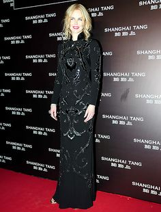 Nicole Kidman looked glam in a traditional cheongsam, which is characterized by its high Mandarin collar and slim fit structure.