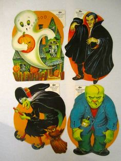 Halloween Cut Outs, Halloween Pictures, Halloween Art, Vintage Halloween Decorations, Halloween Illustration, Wool, Antiques, Projects, Fun