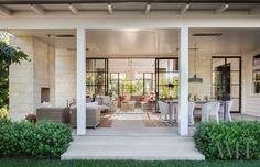 Why Teak Outdoor Garden Furniture? Outdoor Living Rooms, Outdoor Spaces, Indoor Outdoor, Outdoor Dining, California Ranch, California Homes, Porches, Floating Staircase, Steel Windows