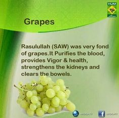 Prophet Mohammed (S.W) loved to eat fresh grapes. Health And Beauty, Health And Wellness, Home Health, Islam And Science, Islam Hadith, Alhamdulillah, Islam Facts, Way Of Life, Natural Medicine