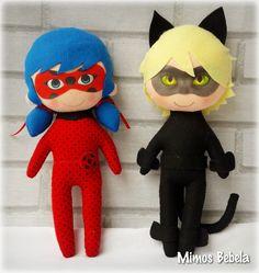 Lady Bug e Cat Noir em feltro 30 cm