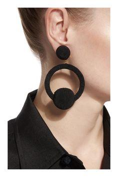 Christy Hoop La La Earrings by Rebecca de Ravenel Christy Hoop La La E Black Earrings, Unique Earrings, Diy Earrings, Fashion Earrings, Fashion Jewelry, Stud Earrings, Funky Earrings, Earrings Handmade, Diamond Earrings