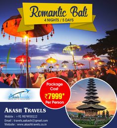 #Romantic #Bali  4 Nights/ 5 Nights Website: www.akashtravels.co.in Email: travels.aakash@gmail.com +91 9874930112 / (033) 22684045 / 40732539
