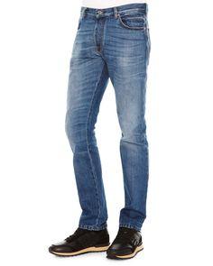 Chino-Fit Straight Denim Jeans, Medium Blue, Size: 32 - Valentino