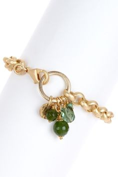 Multi-Green Drop Chain Bracelet by Simply Charming: Jewelry Gifts on @HauteLook