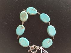 Turquoise Gemstone Oval Beaded Link Toggle Bracelet - pinned by pin4etsy.com