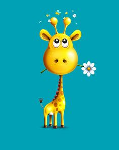 Love this sweet giraffe by Alexandre Efimov illustrations Giraffe Art, Cute Giraffe, Giraffe Drawing, Cartoon Giraffe, Giraffe Painting, Illustration Mignonne, Cute Illustration, Giraffe Illustration, Art Fantaisiste
