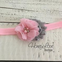 Light Pink and gray grey shabby chiffon flower rhinestone pearl headband hair bow, newborn infant toddler little baby girl photo shoot prop by HoneyLove Boutique