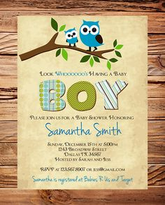 Owl Baby Shower Invitation, Baby Shower Invite, Boy, Girl, Whimsical, Blue, Pink, Baby shower Invite. $20.00, via Etsy.