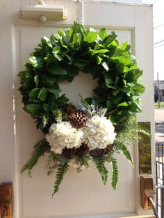 Fresh Wreath -Hydrangeas - woodsy rustic chic - ferns and greenery