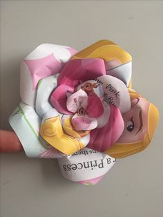 Upcycled handmade Disney Princess - Aurora paper rose by Karolina Rose #DisneyFan #Aurora #SleepingBeauty #Maleficent