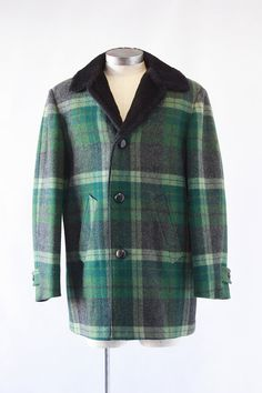 PENDLETON Vintage 60s Coat 1960's Mens Green Wool by lovestreetsf