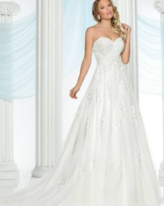 This strapless A-line gown is so timeless! DaVinci Bridal style# 50434