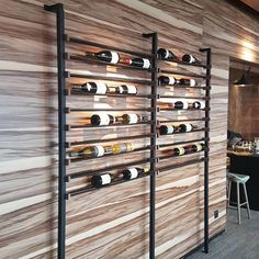 Magnificent wine rack in black aluminum and walnut wood … – Wine World Wine Cellar Modern, Modern Wine Rack, Rustic Wine Racks, Wine Cellar Design, Wine Glass Shelf, Wine Shelves, Wine Glass Rack, Wine Storage, Glass Shelves