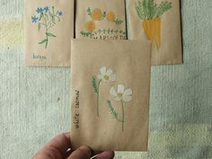 hand-painted seed packets, this might be a good idea for wedding favors! Homemade Gifts, Diy Gifts, Savings For Kids, Art For Kids, Crafts For Kids, Seed Packaging, Seed Packets, Camping Crafts, Graphic