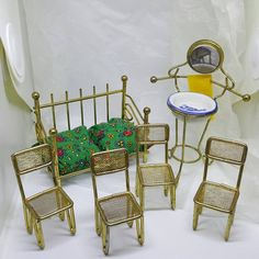 Brass Chairs Daybed Wash basin Dollhouse items Toy Furniture #dollhouseminiatures #etsyseller