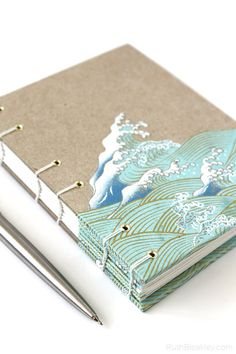 Handmade Journal with Waves cut out of Japanese Paper - great gift for a writer