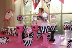 Hot Pink Barbie and Zebra Print Birthday Party | CatchMyParty.com
