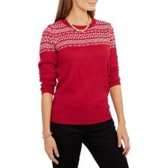 Faded Glory Women's Pullover Collections Sweater, Size: Large, Red