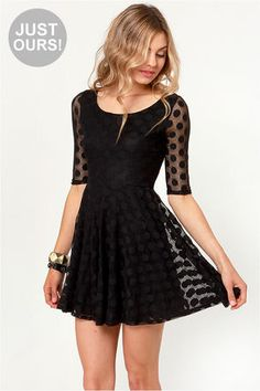 Cute Black Dress - Polka Dot Dress - Lace Dress - It is so stunning! Cant wait for mine to arrive ^_^ Junior Dresses, Cute Dresses, Cute Outfits, Dresses With Sleeves, Casual Dresses, Cute Black Dress, Black Polka Dot Dress, Polka Dots, Going Out Dresses