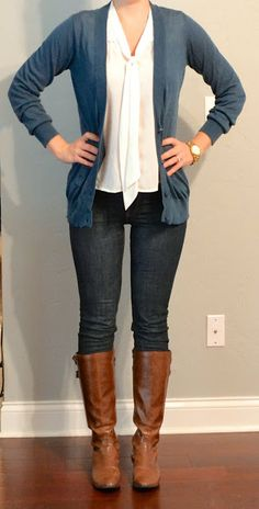 long blue/grey cardigan, tie neck blouse, skinny jeans, riding boots.  Think I have most items to recreate this look or close to it