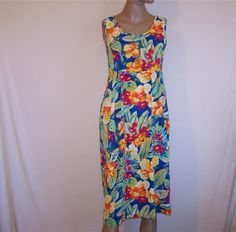 JAMS WORLD Dress Sz S Tropical Floral Hibiscus Sleeveless Crinkled Rayon Pockets #JamsWorld #Sundress #SummerBeach