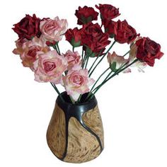 Two Dozen Red and Pink Paper Roses in Carved Wood Vase
