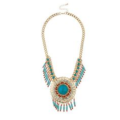 Lux Accessories Turquoise Stone Fringe Medallion Statement Necklace