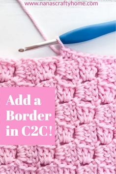 Learn how to add a border edge to any c2c (corner to corner) crochet project! This simple formula for adding a row of single crochet as a base will give you perfect border results every time! Crochet Border Patterns, Crochet Blanket Border, C2c Crochet, Single Crochet Stitch, Crochet Home, Crochet Crafts, Easy Crochet, Crochet Stitches, Crochet Projects