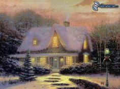 zasnežený dom, kreslený dom, sneh, Thomas Kinkade
