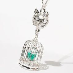 Princess Vera Wang Silver Tone Fox and Birdcage Pendant