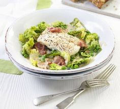 Cod with bacon, lettuce & peas