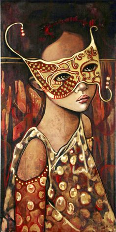 """""""A World of Masks"""" -- by Mónica Fernandez Mexican) Graffiti, Mexican Artists, People Illustration, Masks Art, Art Themes, Colorful Paintings, Portrait Art, Portraits, Face Art"""