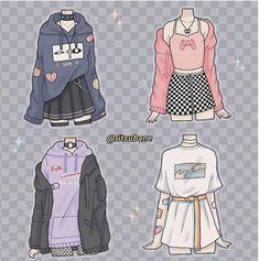 Cute Art Styles, Cartoon Art Styles, Fashion Design Drawings, Fashion Sketches, Teen Fashion Outfits, Anime Outfits, Cute Casual Outfits, Retro Outfits, Kleidung Design