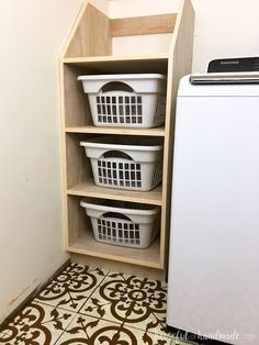 Organize your laundry room with this stackable laundry basket storage. This easy to build shelf unit is the perfect laundry basket organizer so you can keep your dirty laundry hidden. Get the build plans from Housefulofhandmad. Laundry Basket Organization, Laundry Room Storage, Laundry Room Design, Diy Storage, Storage Baskets, Storage Ideas, Organization Ideas, Storage Shelves, Closet Organization