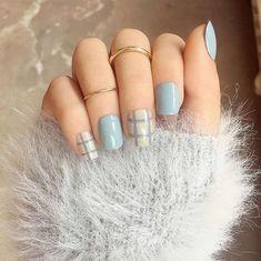 Blue Grey Style Short Fake Sticker Nail Tips Acrylic False elegant nails lucedale - Elegant Nails Grey Acrylic Nails, Acrylic Nail Tips, Blue Nails, Acrylic Nail Designs, Acrylic Box, Pastel Nail Art, Grey Nail Art, Elegant Nails, Stylish Nails