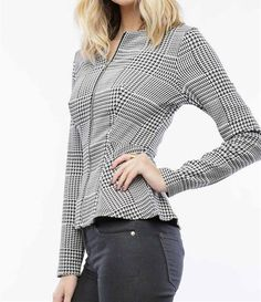 Obsessed To Dress - Black/White Houndstooth Peplum Jacket, $29.99